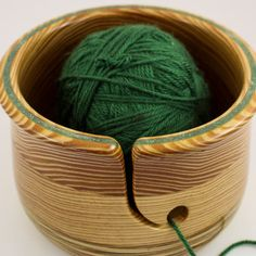Large YARN BOWL Wood Round Yarn Guide by HeckathornTurnedWood