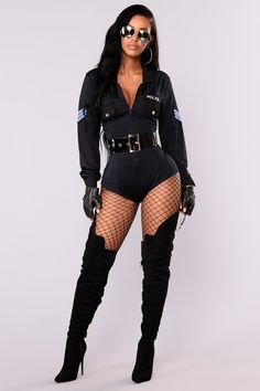 Available in the Navy/Blue 2 Piece Halloween Costume Set Good Cop Bad Cop Sexy Costume Style With Thigh High Boots and Fishnets For The Perfect Look! Front Zipper Closure Mesh Back Polyester All Costumes FINAL SALE Includes: Romper Belt Police Halloween Costumes, Sexy Adult Costumes, Costume Sexy, Sexy Costumes For Women, Costume Dress, Halloween Outfits For Women, Best Superhero Costumes, Sexy Halloween Costume Ideas, Navy Costume