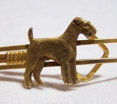 Men's Krementz Airdale Fox Terrier Dog Tie Bar by GretelsTreasures