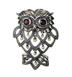 Curious Owl Brooch Pin / Pendant - 925 Sterling Silver $138