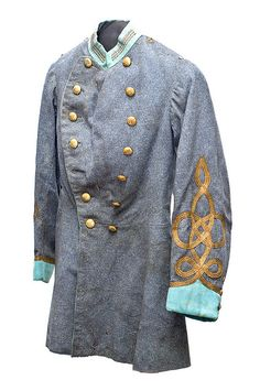 Sumter Guards uniform coat, c. 1865 worn by D. Huger Bacot (Charleston, 1847-1920), who entered into Confederate service as a Citadel cadet. After the war, Bacot remained in the Sumter Guards, becoming its captain until April 1, 1876. The light blue facings indicate infantry.
