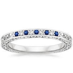 Delicate Antique Scroll Sapphire and Diamond Ring in 18K White Gold | Bride Wedding Band | Brilliant Earth