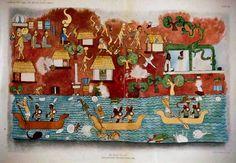 Templo de los guerreros de Chichen Itza. Pintura mural maya.