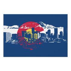 Colorado Flag with Denver Skyline and Rockies Poster  19x13  $11.75