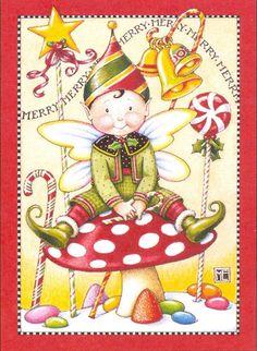 Merry Mushroom Christmas Elf Handcrafted Fridge Magnet Art by Mary Engelbreit | eBay