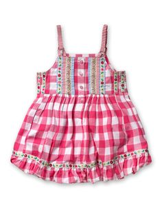 Oilily summer dress, pink check with ribbon trim