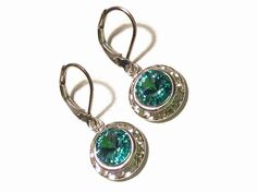 Silver Light Turquoise Made With Swarovski Elements. MEMBER - Jewelry FX