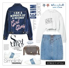 """Denim Skirts Street Style"" by ellie366 ❤ liked on Polyvore featuring T By Alexander Wang, Valentino, MANGO, See by Chloé, Betsey Johnson, Bottega Veneta, denimjacket, Sweatshirt, sneakers and denimskirts"