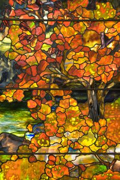 Detail of Tiffany Stained Glass Window Autumn Landscape in the Met