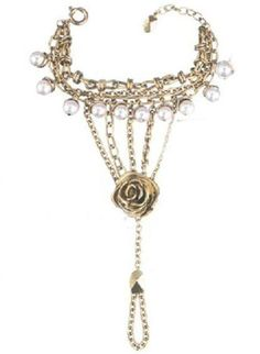 Gold Pearls Flower Chain Bracelet - Sheinside.com  #SheInside