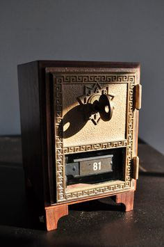 Retired United States Post Office Box 81 Lock Safe In Walnut Reclaimed Materials