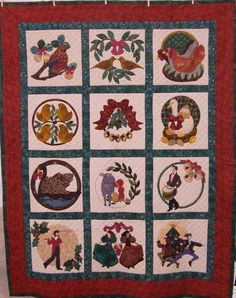 12 days of Christmas quilt blocks. Nice idea for applique Christmas Tree And Santa, Santa And His Reindeer, Christmas Banners, Christmas Cats, Christmas Images, Christmas Holiday, Christmas Ideas, Applique Patterns, Applique Quilts