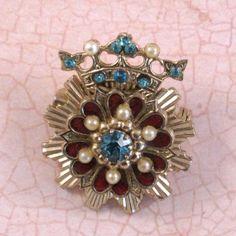 Vintage Coro Rhinestone Crown and Hearts Brooch by TheeTreasureBox, $21.00