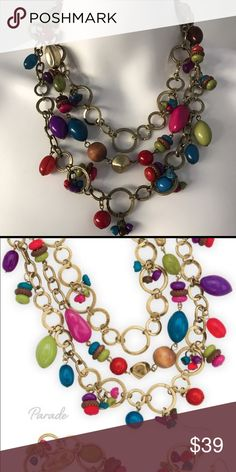Colorful beaded layered necklace This brass and bead necklace can be worn so many ways, long or short.  Has a removable strand too.  Colorful beads make it a fun addition to any outfit. Premier Designs Jewelry Necklaces