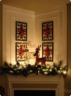 Superb Christmas Mantel Idea  For The Strange Corner Fireplace I Have.