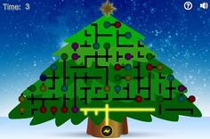 Christmas Tree Light-up Brain Game|   Light up the Christmas tree by connecting all the wires and light bulbs to the electrical source.  You can rotate the wires and the bulbs by clicking them.  Click throug to play.