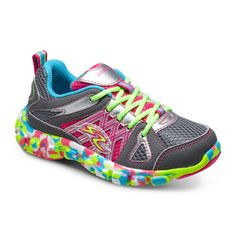 Stride Rite Propel in Grey/Multi.#striderite #propelathletic #propelsneaker #youthgirlsshoes #girls #youth #runningshoe #lace #multicolored #grey