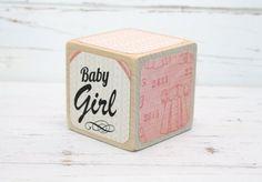 Shabby Chic Nursery - Wood Blocks - Baby Blocks - Pink Nursery - Baby Shower Decor - Baby Girl - 2 I Wooden Baby Blocks, Wood Blocks, Chic Nursery, Nursery Room Decor, Baby Girl Patterns, Nursery Shelves, Baby Girl Bows, Baby Shower Activities, Star Baby Showers