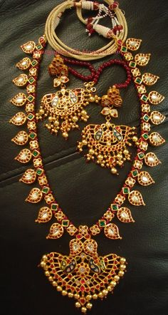 Latest Indian Gold and Diamond Jewellery Designs: Ruby emerald Mango mala design