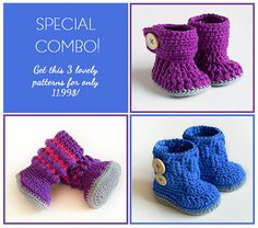 This is a listing for three patterns! Blue Snowman, Violet Drops and Color Madness.    This deal will be available just for a short time!    The