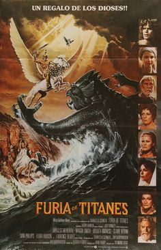 """Clash of the Titans (1981) Vintage Movie Poster from Argentina - This is a rare, vintage, Argentinean movie poster from 1981 for the cult-classic, Greek mythology film Clash of the Titans. The movie stars Harry Hamlin, Judi Bowker, Burgess Meredith, Maggie Smith, and Lawrence Olivier and was directed by Desmond Davis. The poster features original art by Daniel Goozee. This 35-year-old poster measures an impressive 29"""" x 43 ½"""" and is in very good condition w/ minimal edge wear. Free US…"""