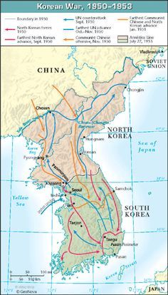 this photo is depicting a map of Korea during the Korean war. The Korean war occurred during the beginning of the Cold War. This war ended at the parallel, right where it started. History Class, World History, World War Ii, History Education, Historical Maps, Wall Maps, Asian History, Korean War, Vietnam War
