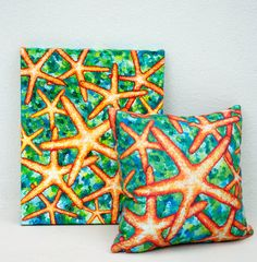 Starfish Pillow Nautical Pillow Decorative Pillow Ocean by coastal artist Alexandra Nicole Newton