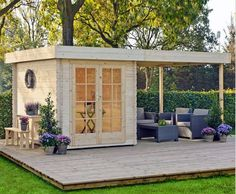 backyard studio is usually a shed or granny flat you put to good purpose by building or renovating it to serve as a studio. A backyard studio can be a Outdoor Rooms, Outdoor Living, Outdoor Office, Backyard Office, Indoor Outdoor, Outdoor Sauna, Shed Design, House Design, Tiny House