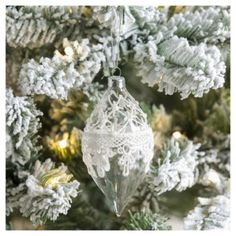 Weiste Glass White Lace Christmas Tree Decoration