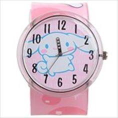 Cute Quartz Wrist Watch with Baby Cinnamon Pattern & Wide Plastic Band for Girl Lady - Crystal Pink Quartz, Band, Crystals, Cinnamon, Cute, Pattern, Plastic, Watch, Women