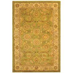 Handmade Old World Light Green/ Ivory Wool Rug (7'6 x 9'6)