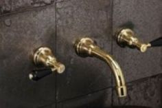 Samuel Heath. Beautiful new non-lacquered brass finish from Samuel Heath which looks amazing on their Fairfield taps with their elegant lines and classy black levers. www.samuel-heath.co.uk