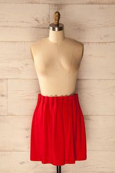 Valldolmo - Red pleated mini skirt