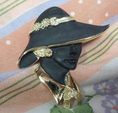 Vintage Brooch / Pin  Lady Enameled Gold by shoponwebstreet