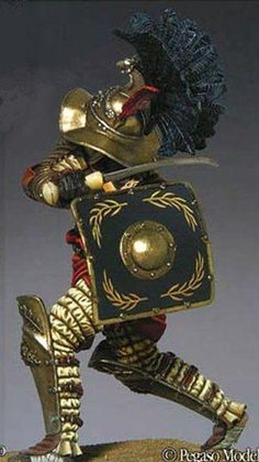 The Thracian or Thraex gladiator carried a small curved sword called sica, and a small square shield. Fought versus the Murmillos.