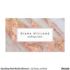 Sparkling Pink Marble Abstract Makeup Artist Business Card - An elegantly feminine abstract marble pattern in pink and grayish-white with gold glitter sparkle highlights and chic text layout. This business card is shown as a makeup artist card but also works beautifully for many professions: stylish, manicurist, interior design, personal shopper, assistant, office manager, sales, accountant, legal, fashion industry, and more. Sold at Oasis_Landing on Zazzle.