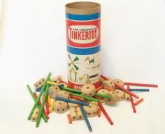 Tinkertoys. I know these came out before my time... But when we would go to my great grandmother's this is what she had for us to play with. And a thing that was like a potato head... But not. Lol