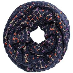 Navy Blue Colorful Popcorn Knit Soft Fuzzy Circle Infinity Scarf (765 RUB) ❤ liked on Polyvore featuring accessories, scarves, heavy, navy blue, infinity scarf, knit shawl, navy infinity scarf, knit circle scarf and circle scarf