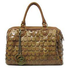 Galian Handbags Woven Satchel Perforated Purse Croco Tan