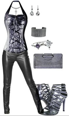 Black silver leather club outfit for a date out on the town clubbing www.fling.me