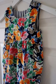 Vintage 80's All In One Reversible Floral + Striped Sleeveless Playsuit