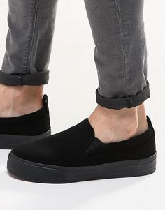 Super fede ASOS Slip On Plimsolls in Black With Chunky Sole - Black ASOS Plimsolls til Herrer til enhver anledning