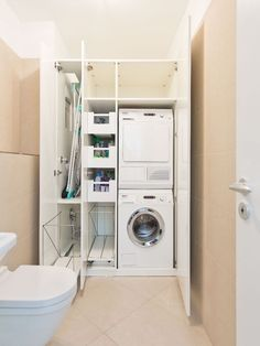 25 brilliant laundry room ideas for small spaces practical & efficient 4 - 25 brilliant laundry room ideas for small spaces practical & efficient 4 - Laundry Cupboard, Laundry Room Cabinets, Laundry Closet, Cleaning Closet, Basement Laundry, Small Laundry Rooms, Laundry In Bathroom, Small Bathroom, Utility Room Storage