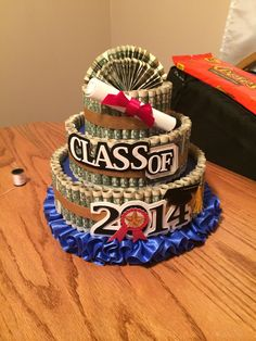 I CAN NOT WAIT TO SEE MY BROTHERS FACE WHEN HE GETS HIS CAKE ON SATURDAY!!! IM SO PROUD OF HIM! Didn't add a tutorial but there are many out there! #moneycake #money #graduation #cake
