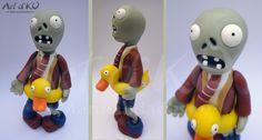 zombie duck, plants vs zobies cake topper, plantas vs  zombies