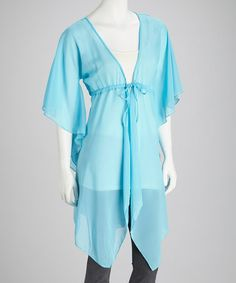 Take a look at this Turquoise Chiffon V-Neck Tunic by SR Fashions on #zulily today!