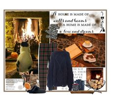 """By the fireplace"" by valc5 ❤ liked on Polyvore featuring WALL, ShelterLogic, Garden Trading, Crate and Barrel, UGG, J.Crew, I Love Mr. Mittens, Bling Jewelry and Disney"