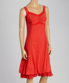 Look what I found on #zulily! Red Ruffle Pleated Sweetheart Dress by Dolcezza #zulilyfinds