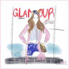 """@glamourmex  January cover by Fashcom  #fashion #fashcom #illustration #fashioncomic #comic #draw #drawing #dress #shoes #magic #glitter #heels…"""