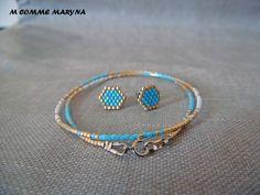 Parure minimaliste perles Miyuki 2 pièces Doré et bleu tissée à la main Bohochic Bohostyle Bohemian : Parure par m-comme-maryna Miyuki Beads, Comme, Ale, Cuff Bracelets, Stud Earrings, Etsy, Accessories, Jewelry, Games
